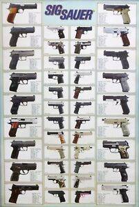 SIG SAUER HAND GUNS & PISTOLS POSTER: High Power,Semi Automatic Firearms,Weapons