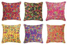 Indian Embroidery Dupioni Work Paisley Design Silk Cushion Cover Home Decorative