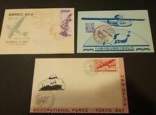 Japan FDC (x3) (1945 U.S.S. Delta Tokyo Bay, 1951 Memorial Flight, etc)