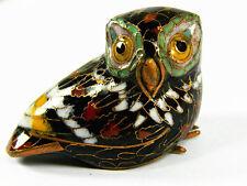 Vintage Small Black Cloisonne Copper Enamel Lovely Bird Owl Figurine Statue