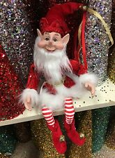 "Posable Elf Christmas Peppermint Santa Elf 16"" Ornament Elf Decor Wreath Swag"