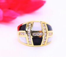 Vintage 14K Yellow Gold Ring Onyx & MOP Diamond Checker Style 0.80ctw   Size 7