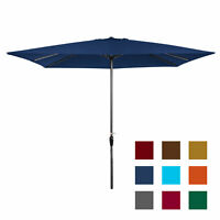 BCP 8x11ft Rectangular Patio Umbrella w/ Easy Crank, UV-Resistant Fabric