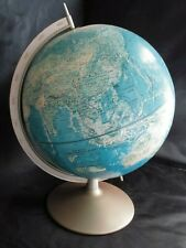 1950's Vtg Rand McNally World Portrait Topographical Globe w/ Metal Base & Arm