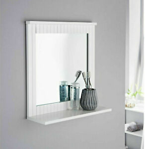 MAINE White Bathroom Mirror With Cosmetics Shelf Square Wood Frame Wall Mounted