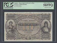 Uruguay Banco Ingles Del Rio De la plata 10 Pesos 1-5-1885 Specimen Ps191s AUNC