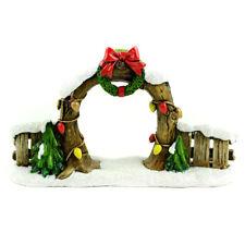 Miniature Dollhouse Fairy Garden Christmas Arch & Fence with Wreath Figurine