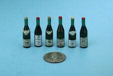 NICE Set of 6 Dollhouse Miniature Plastic Wine Bottles with Labels #SD405