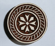 Round Shaped 5cm Indian Hand Carved Wooden Printing Block Stamp (2016-RD3)