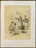 Litografia Di 1859: Las-Cazas Circolare 1 Colonia Indienne. Cumana (Victor Adam