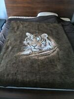 "Biederlack Tiger Head Brown White Blanket Acrylic Throw Reversible 70"" x 55"""