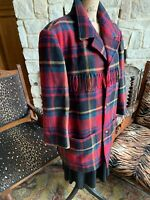 Red Plaid Wool Mohair Jacket Fringe Pockets Excellent Women's 12 Large Xlarge
