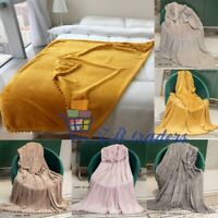 New pom pom tassels Blankets Soft Warm Sofa Bed Floor Camping Home Hotel Throws