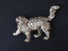 ancienne petite broche animalière en argent massif chat
