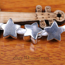 30pcs Charms Spacer Beads 5mm Hole Luck Star Tibet Silver Bails DIY Jewery A7300