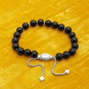 David Yurman Sterling Silver Black Onyx Spiritual 8mm Bead Bracelet Adjustable