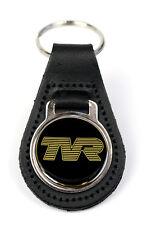 TVR Gold Logo Quality Black Leather Keyring