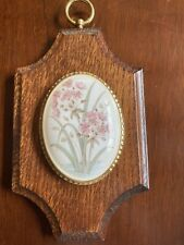 Wooden Small Wall Plaque With Porcelain Flower Centre