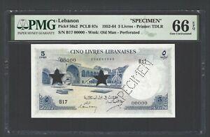 Lebanon 5 Livres , 1-08-1952 , P 56s2 , SPECIMEN , Gem Uncirculated , Grade 66