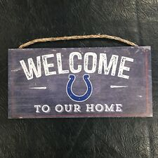 """Indianapolis Colts Welcome Wooden Sign   6x12""""   By Fan Creations   Made In USA"""