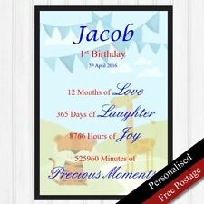 1st Birthday Gift Personalised. Keepsake for Boys. First Birthday. PRINT ONLY