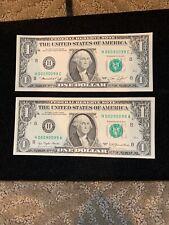 $1 CRISP UNC 1969 DOUBLE MATCH  FED. RESERVE NOTE #00090099