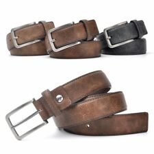 Gents Belt Trouser Waistband Faux Leather Stylish Casual Black Grey Dark Brown