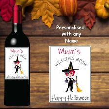 2 Personalised Any Name Witches Brew Wine Bottle Labels Vinyl Sticker Halloween