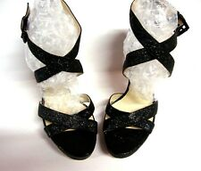 Michael Kors ST15F Womens Gideon Glitter Sparkle Sandals Heels Black 9.5M NEW