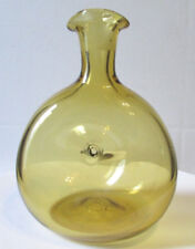 Double Spout Pinched Decanter Amber Wheat Vtg Art Glass NO Stopper