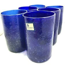 Cobalt Blue Hand Blown Highball Glasses Tumblers - Set of 6 - Carretones Mexico