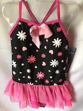 Jump N Splash Pink Black White Ballerina Style Girls One Piece Swimsuit 4T-New