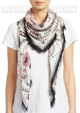 """ALEXANDER MCQUEEN ivory & pink SOLSTICE modal/wool 52""""-sqre scarf NWT Auth $420!"""