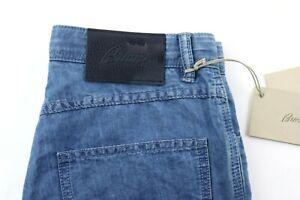 NWT $825 BRIONI Cotton Linen Jeans 30 (fits 28) Stelvio Light Blue Slim 5 Pocket