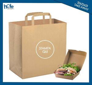 Shopper Buste di Carta Personalizzate con Logo da TAKE AWAY Sacchetti con Manici