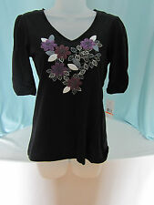Tommy Hilfiger Knit Top Petite Small Black Floral Trim Beads Front NWT