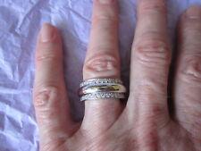 ITALIAN HANDCRAFTED 18K WHITE Gold DIAMOND ANNIVERSARY WEDDING BAND Ring Sz 7.25