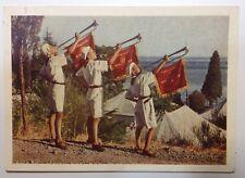 """Vintage Russian postcard 1954 Pioneer camp """"Artek"""" Pioneers Children Patriots"""