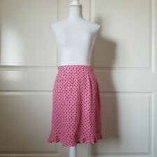 Casual Corner Womens Skirt Size 6 Polka Dot Pink Black 100 Percent Silk