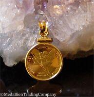 24k .999 Gold Tristan Da Cunha St Michael Angel Coin 14k 1/20 oz Pendant 2008