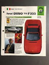 "1965 > Ferrari Dino to F355 Timeline IMP ""Hot Cars"" Spec Sheet Folder Brochure"