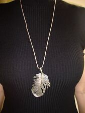 NEW LADIES GIRLS SILVER FEATHER NECKLACE PENDANT