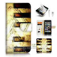 ( For iPhone 5 / 5S / SE ) Wallet Case Cover P4214 Music Keyboard Piano