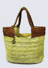 **  GIANI BERNINI Striped Natural Straw & Brown Leather Tote Bag Msrp $139.50