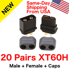 20 Pairs Amass XT60H Connector Plug 3.5mm Gold-plated Plug Black Protective Caps