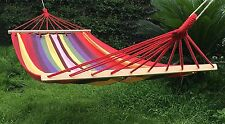 Naval-Style Cotton Fabric Canvas Double Hammock Outdoor Indoor Swing Sleep Bed