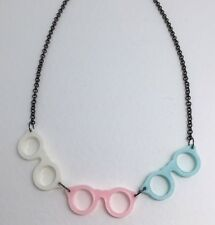Pink Blue 3 Glasses Pendant Necklace Charm Plastic Resin Kitsc Black Chain  D038