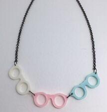 Pink Blue 3 Glasses Pendant Necklace Charm Plastic Resin Kitsc Black Chain  D038