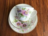 "Stunning old vintage tea trio Royal Doulton  ""Passion Flower""-cup, saucer, plate"