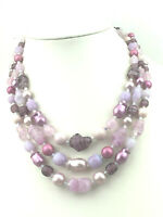 Vintage Necklace Japan Art Glass & Faux Pearl Purples Multi Strand Silver Choker